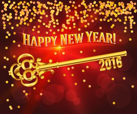 Happy New Year 2016 Gold Key Card Congratulations