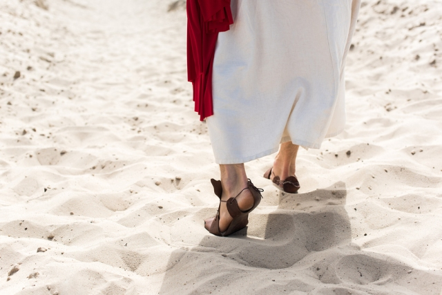 Cropped Image Of Jesus In Robe, Sandals And Red Sash Walking On